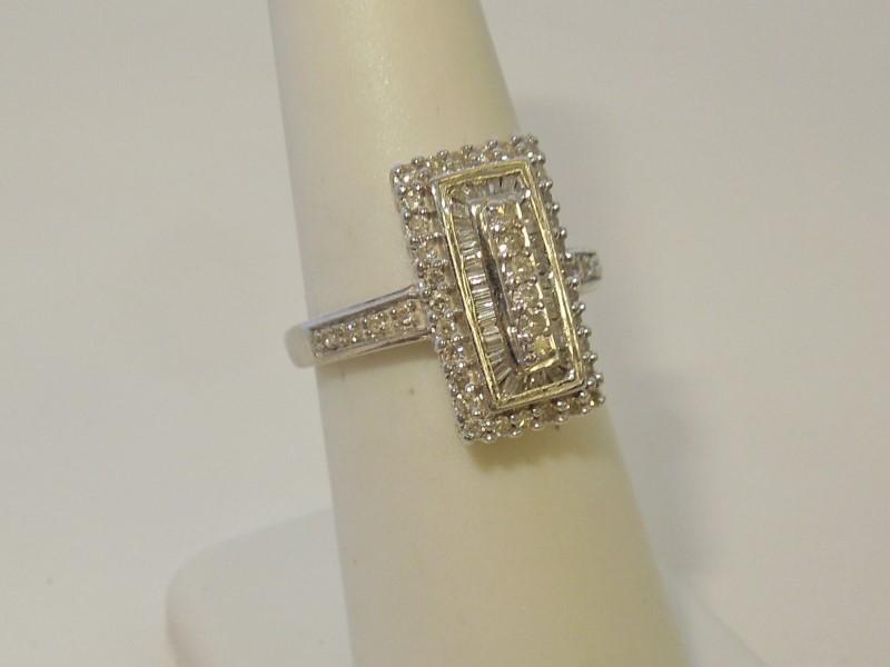 Lady's Diamond Cluster Ring 76 Diamonds .468 Carat T.W. 10K White Gold 3.1g