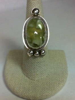 Yellow Stone Lady's Silver & Stone Ring 925 Silver 13.2g Size:7.5