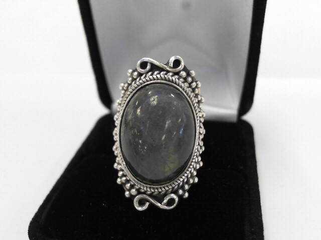 Gray Stone Lady's Silver & Stone Ring 925 Silver 9.5dwt