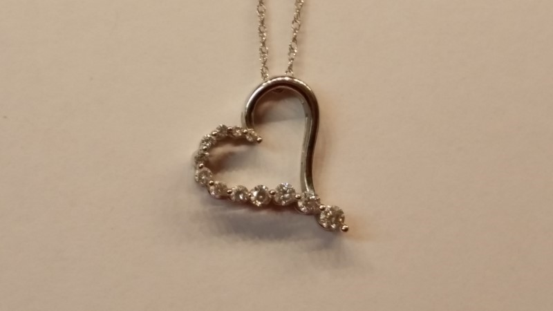 "18"" Diamond Necklace 12 Diamonds .31 Carat T.W. 14K White Gold 2g"