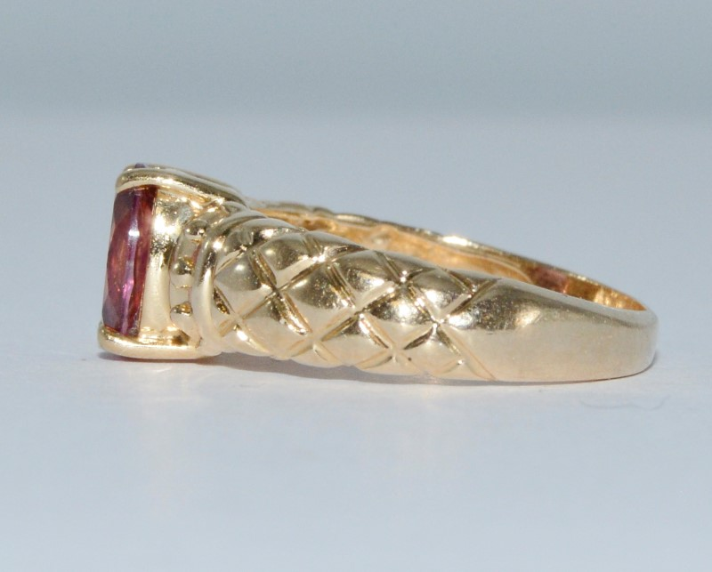 14K Yellow Gold Quilt Basket Weave Pink Tourmaline Solitaire Dome Ring sz 7