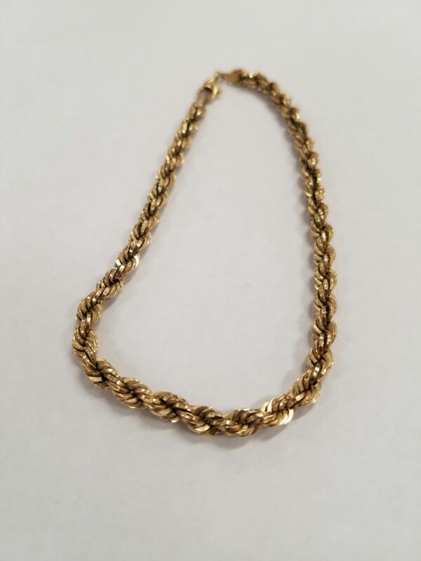 Gold Rope Bracelet 10K Yellow Gold 2.1g