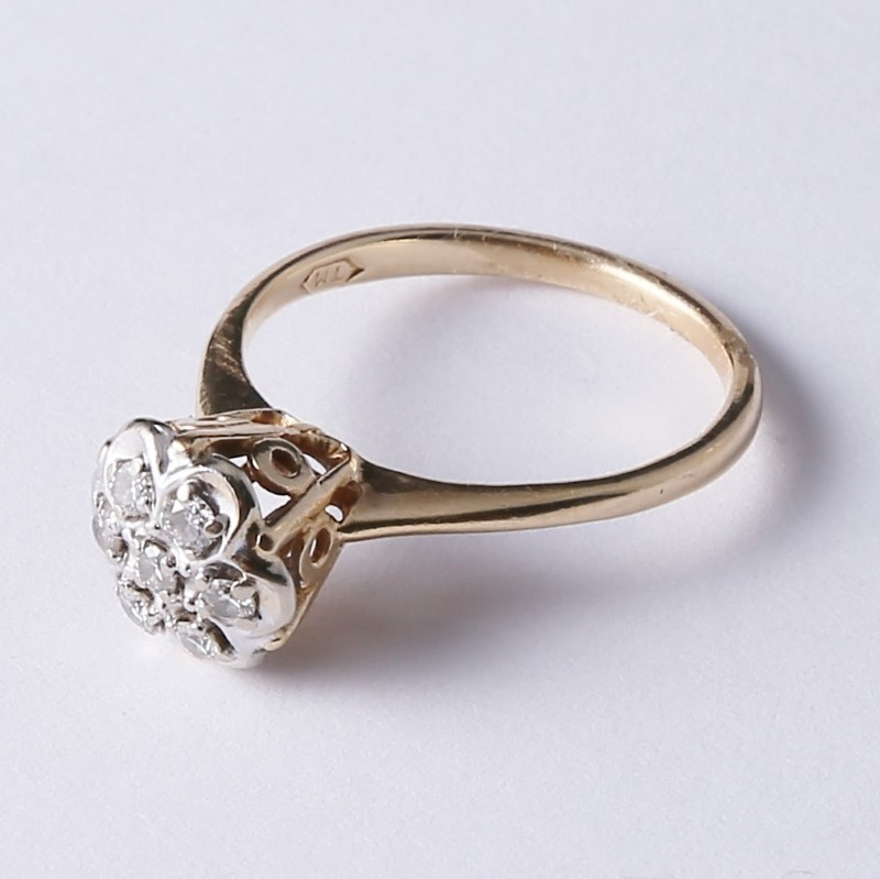 14K Yellow Gold Floral Round Brilliant Diamond Cluster Ring Size 6.5