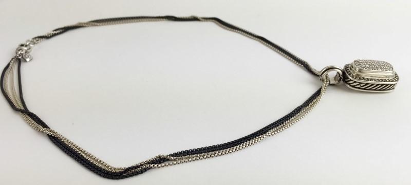 David Yurman White & Black Pendant w 80 Diamonds 1.60 Carat T.W.  Sterling B&W