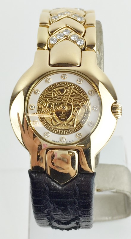 GIANNI VERSACE 18KT YG DIAMOND PAVEE QUARTZ WATCH
