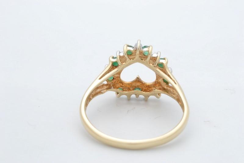 EMERALD GREEN DIAMOND OPEN HEART RING SOLID 10K GOLD LOVE PROMISE 7