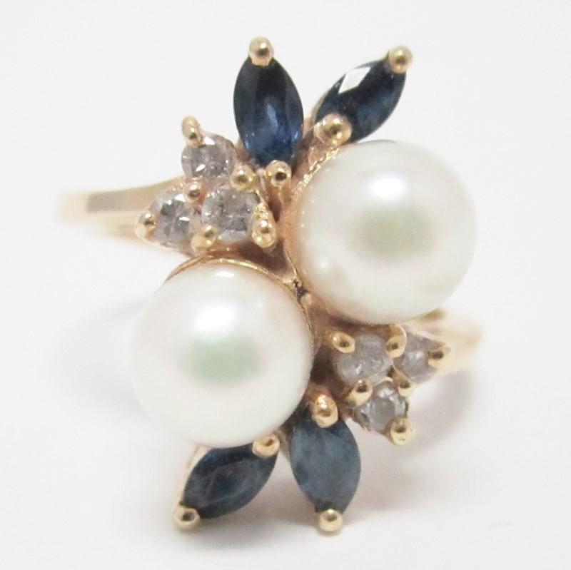 14K Yellow Gold Pearl, Diamond & Blue Gemstone Ring Size 6.5