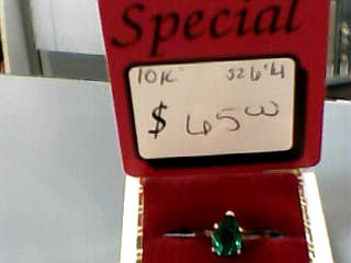 Synthetic Emerald Lady's Stone Ring 10K Yellow Gold 1.1dwt Size:6.3