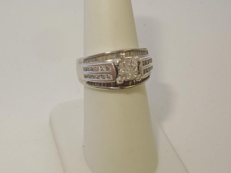 Lady's Diamond Fashion Ring 81 Diamonds .99 Carat T.W. 10K White Gold 6.6g
