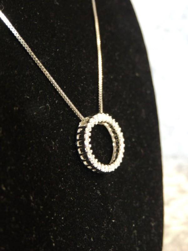"Diamond Necklace 30 Diamonds 1 Carat T.W. 14K White Gold 3.4g 18"""