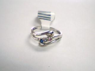 Blue Stone Lady's Stone Ring 10K White Gold 1.8g Size:6.8