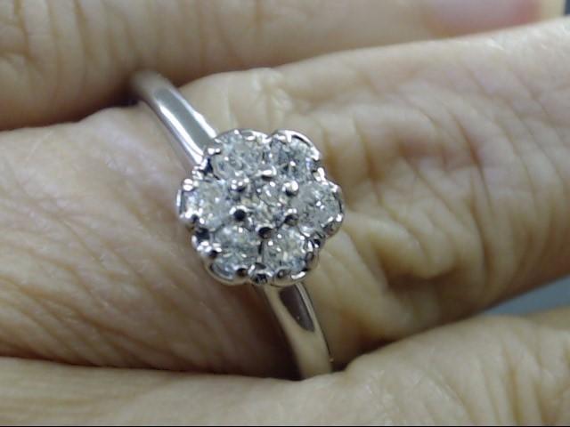VINTAGE NATURAL DIAMOND CLUSTER RING SOLID 14K WHITE GOLD SIZE 10.5
