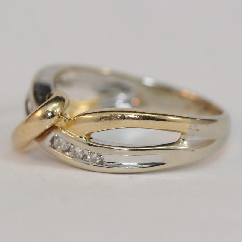 Twisted 14K Yellow & White Gold Diamond Engagement Ring Size 6.25