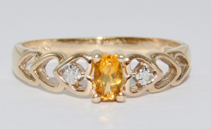Adorable 10K Yellow Gold Heart Silouette Citrine & Diamond Ring sz 7.5