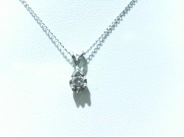 Gold-Diamond Solitaire Pendant .07 CT. 14K White Gold 1.3g
