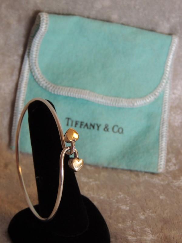 Tiffany & Co. Double Heart 18K & Sterling Silver Bangle Bracelet