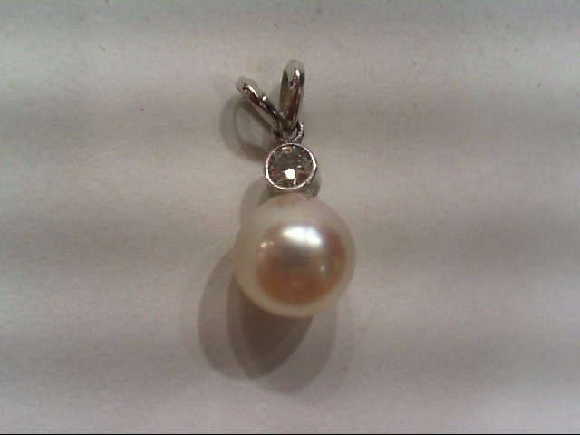 Pearl Gold-Diamond & Stone Pendant .12 CT. 14K Yellow Gold 1.1g