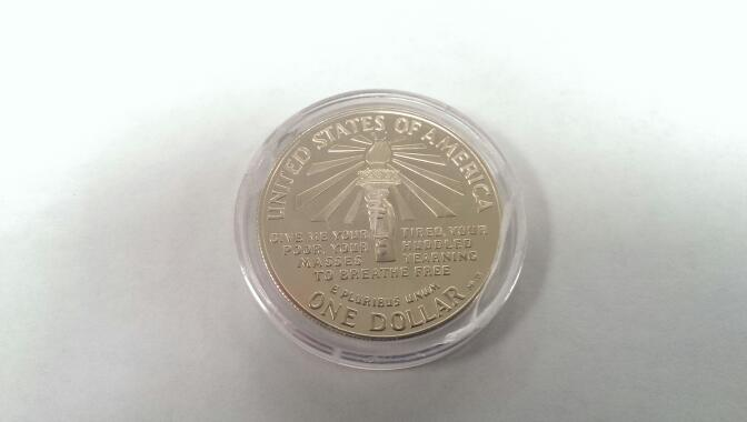 UNITED STATES Silver Coin 1986 S ELLIS ISLAND ONE DOLLAR