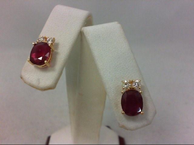 Ruby Gold-Diamond & Stone Earrings 4 Diamonds .16 Carat T.W. 14K Yellow Gold