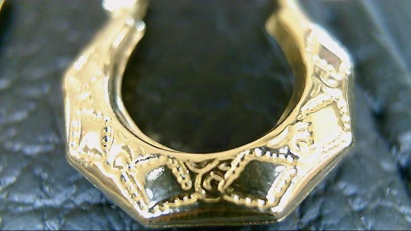 lady's 14k yellow gold designed sm hoop earrings