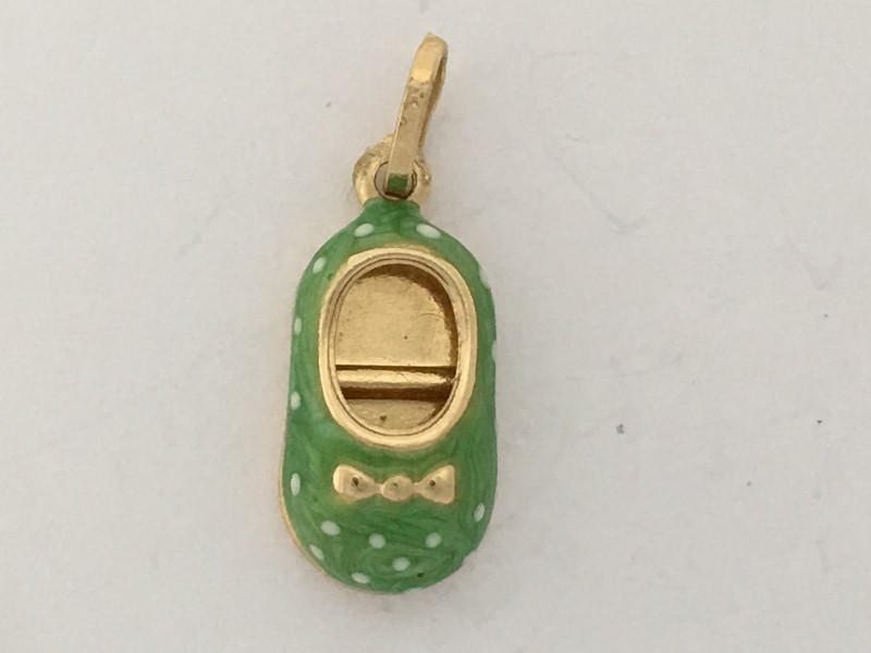 14K YELLOW GOLD (1.41G) GREEN SPOTTED BALLET SLIPPER CHARM