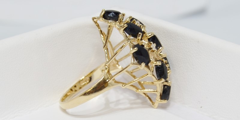 Onyx Lady's Stone & Diamond Ring 3 Diamonds .06 Carat T.W. 14K Yellow Gold