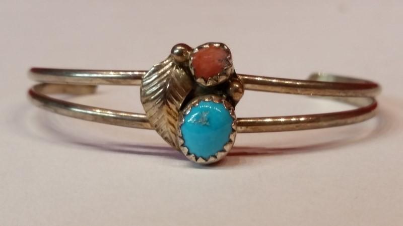Kids Native American Indian Silver Bracelet 925 Silver 3.4g