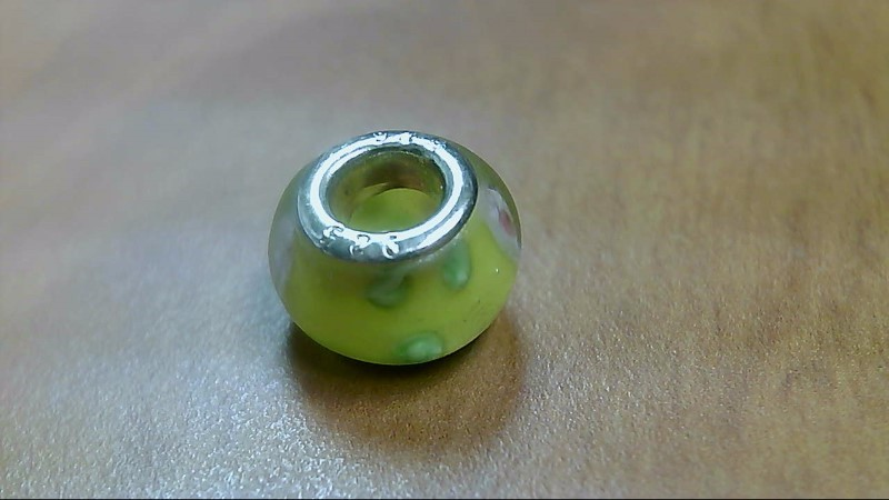 Yellow Pink and Green Glass Bead 925 Silver