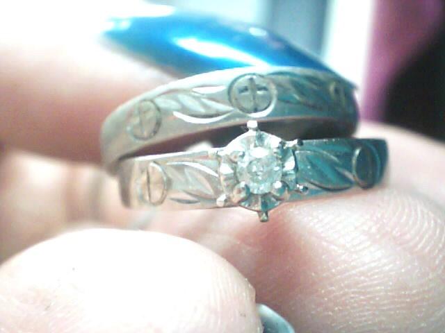 Lady's Diamond Wedding Set .05 CT. 10K White Gold 2.4dwt