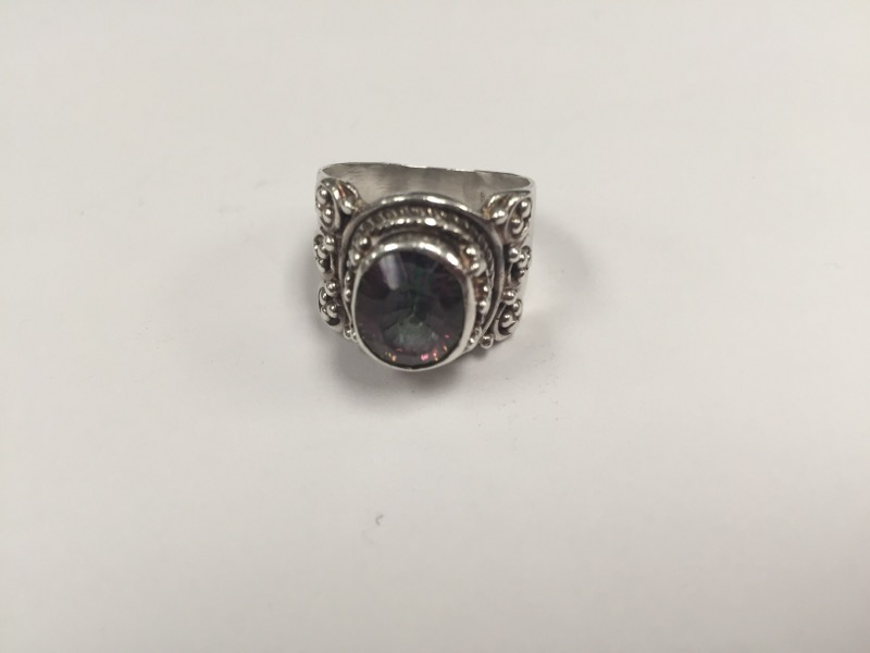 Purple Stone Lady's Silver & Stone Ring 925 Silver 8.8g Size:8.5