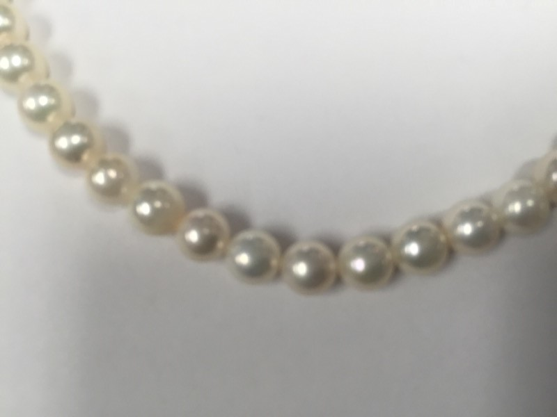 "16"" Pearl Stone Necklace 10K Yellow Gold  clasp with 7"" bracelet 4mm"