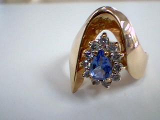 Synthetic Tanzanite Lady's Stone & Diamond Ring 11 Diamonds .33 Carat T.W.