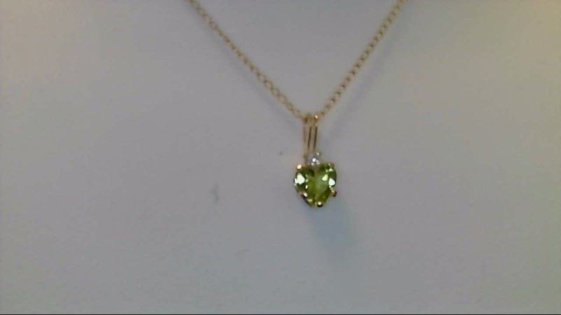 LADY'S 10K YELLOW GOLD PERIDOT HEART WITH 2MM RD CZ NECKLACE 0.7G