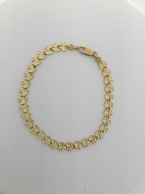 "HEART LINK 10K YELLOW GOLD 8"" BRACELET"