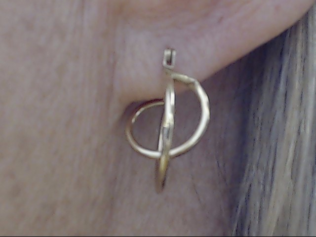 """ESTATE SPIRAL CIRCLE HOOP EARRINGS REAL 14K YELLOW GOLD UNIQUE 3/4"""""""