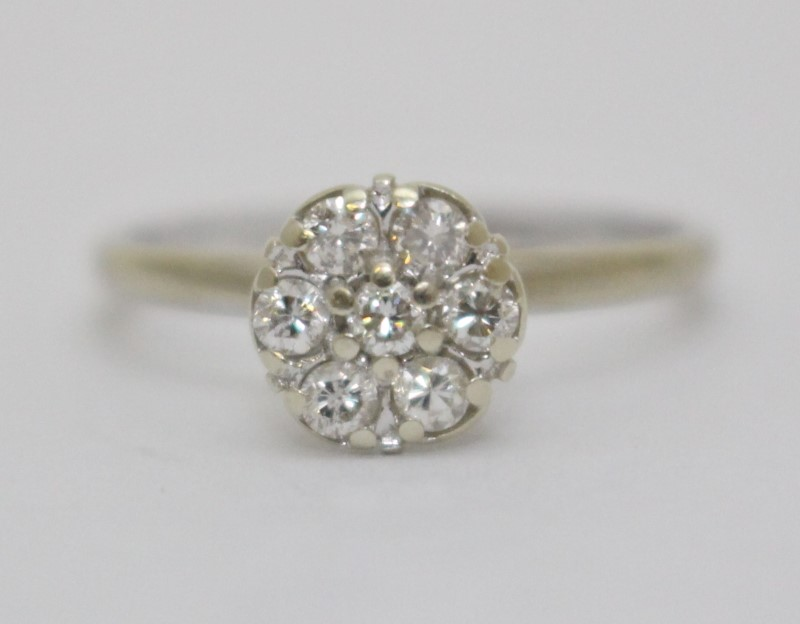 14K White Gold Vintage Inspired Diamond Floral Cluster Engagement Ring Size 5.5