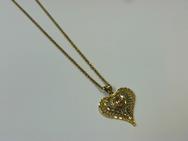 """24"""" Gold Rope Chain 14K Tri-color Gold 7.2g"""
