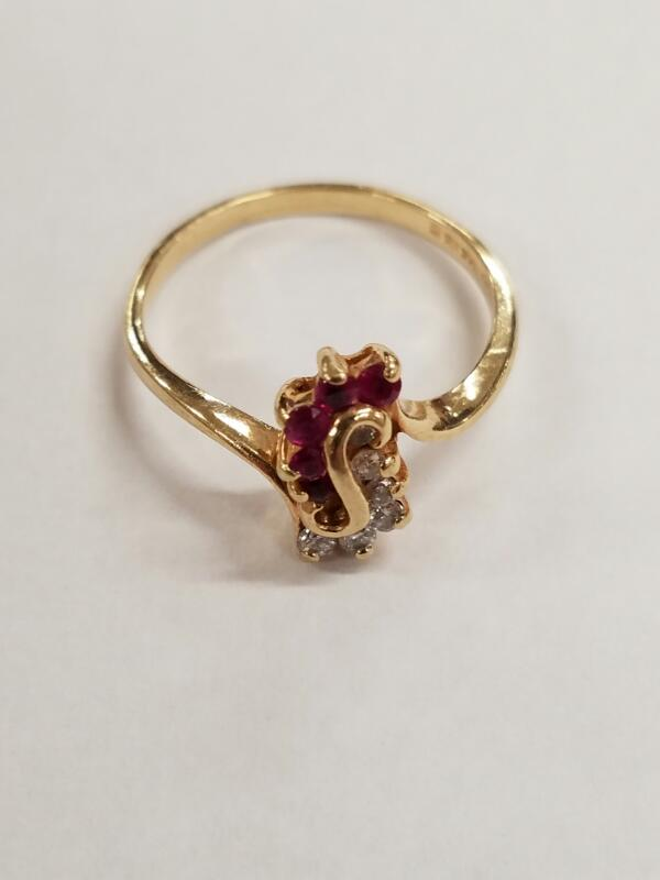Red Stone Lady's Stone & Diamond Ring 6 Diamonds .06 Carat T.W. 14K Yellow Gold