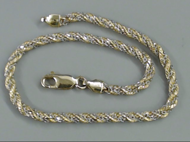 VINTAGE ROPE TWIST CHAIN BRACELET REAL 14K 2 TONE GOLD ITALY 7.25""