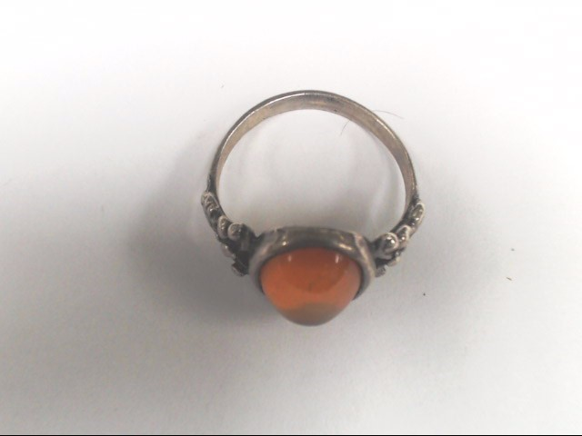 Synthetic Amber Lady's Silver & Stone Ring 925 Silver 3.2g