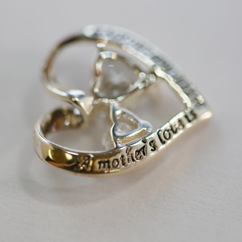 Dual Heart Cut Cubic Zirconia (Backside) Engraved Silver Pendant
