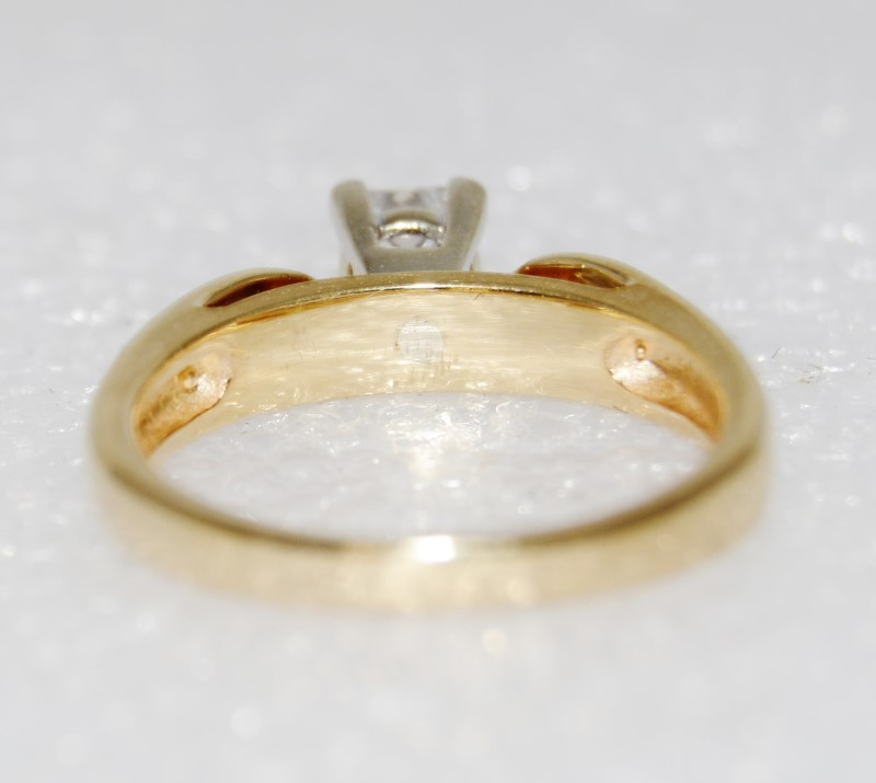 14K Yellow Gold Open Cathedral Princess Diamond Solitaire Engagement Ring sz 6