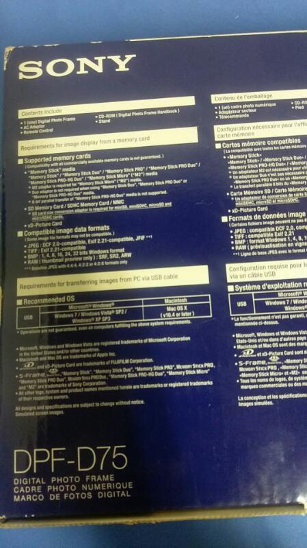 SONY S-FRAME DIGITAL PHOTO FRAME MODEL DPF-D72N