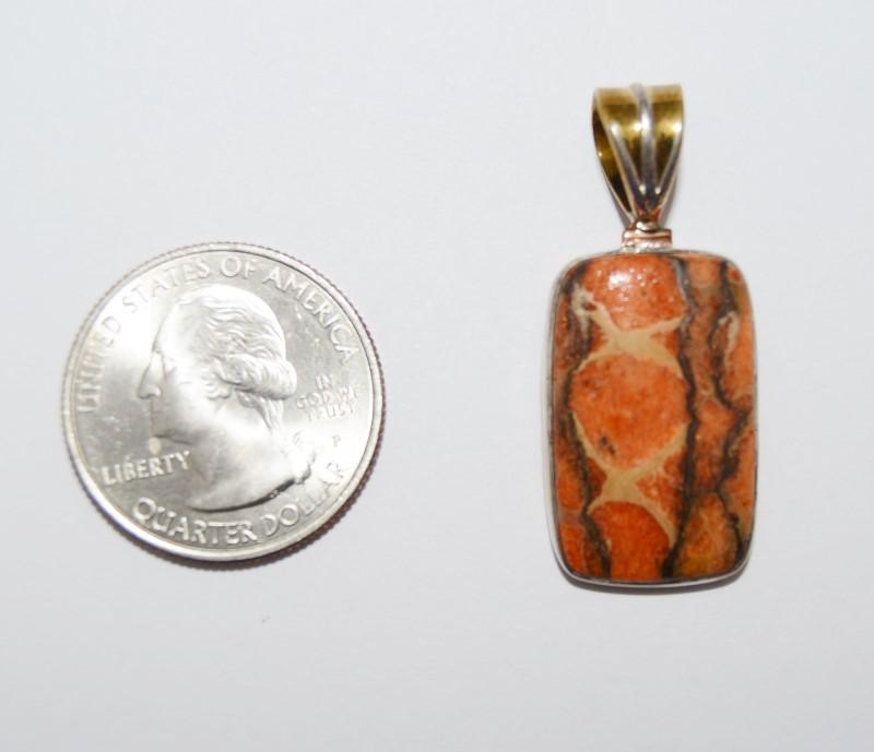 Sterling Silver Gold Toned Rectangular Cut Orange Turquoise Pendant