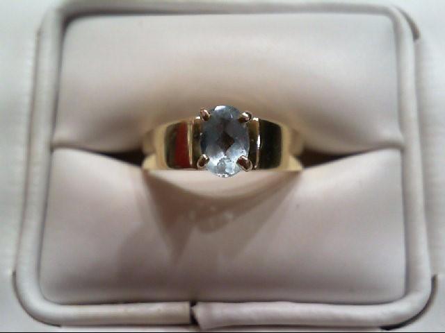 Blue Topaz Lady's Stone Ring 10K Yellow Gold 3.8g