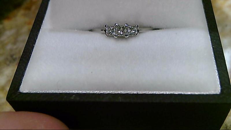 Lady's Diamond Engagement Ring 3 Diamonds .35 Carat T.W. 14K White Gold 1.9g
