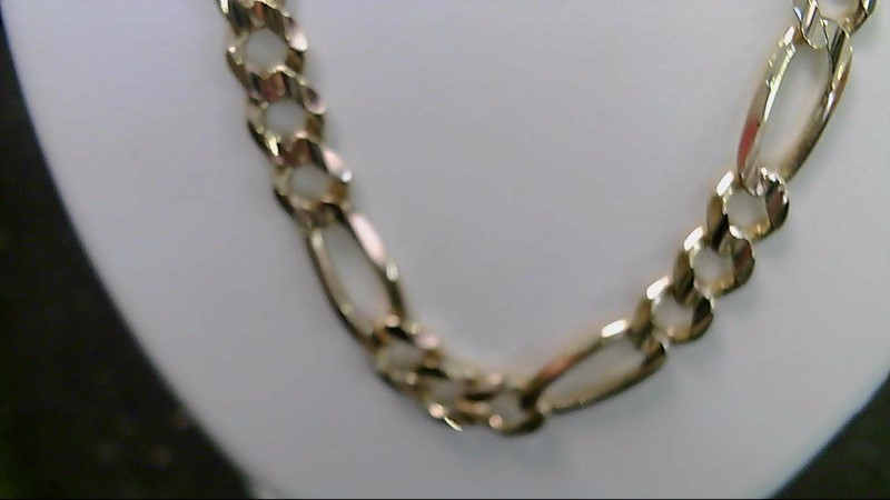 """14k yellow gold 20"""" solid 37.2g figaro chain"""
