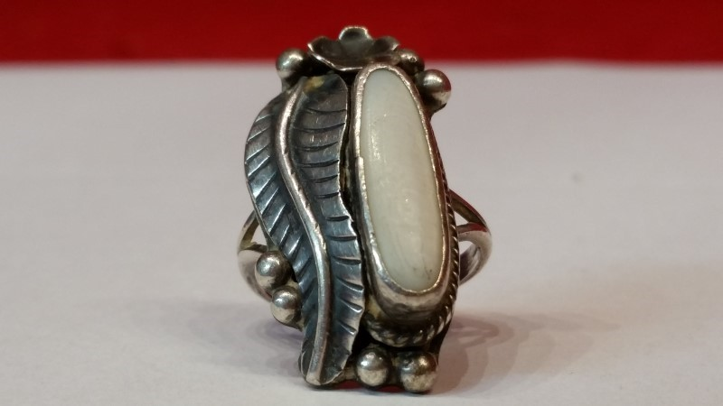 Native American Indian Lady's Silver Ring 925 Silver 7.4g Size:7