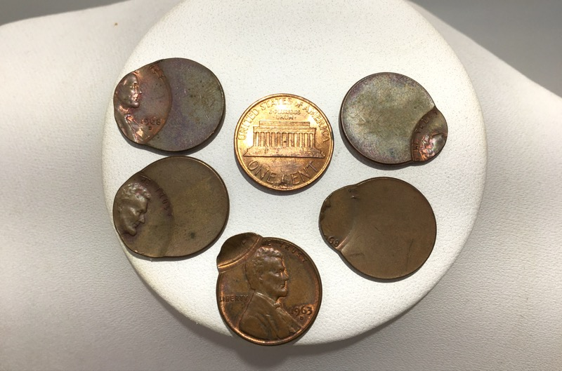 OFF CENTER LINCOLN CENTS / DIE CLIP MINT ERROR COINS - LOT OF 6