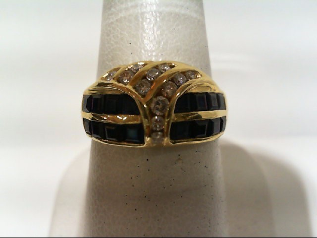 Sapphire Lady's Stone & Diamond Ring 12 Diamonds .34 Carat T.W. 18K Yellow Gold